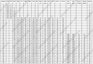 Размеры плода в 25 недель беременности таблица