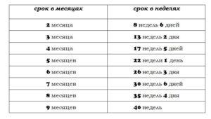 9 Месяцев сколько недель беременности